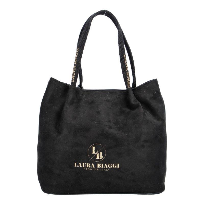 Elegantní dámská semišová kabelka LB Elegance, černá