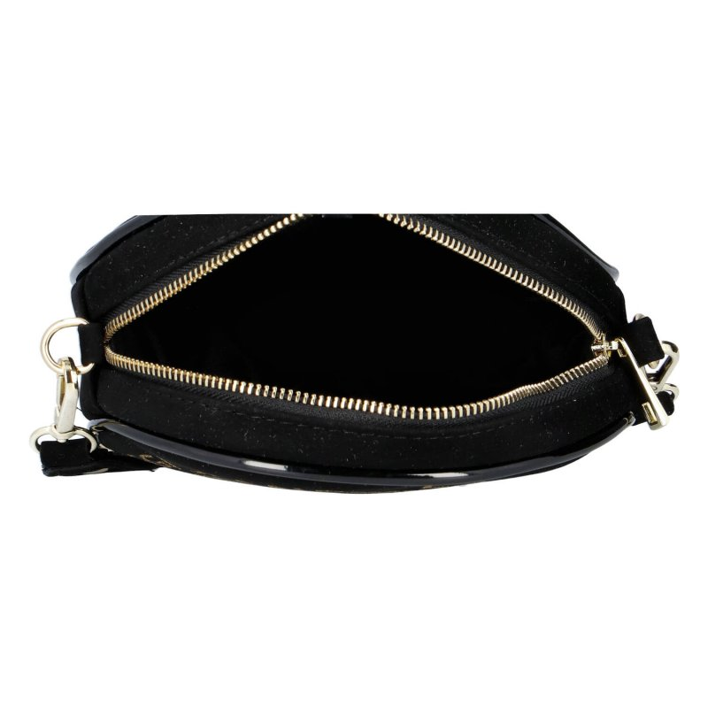 Trendová dámská kulatá semišová kabelka Laura Biaggi jeans, černá