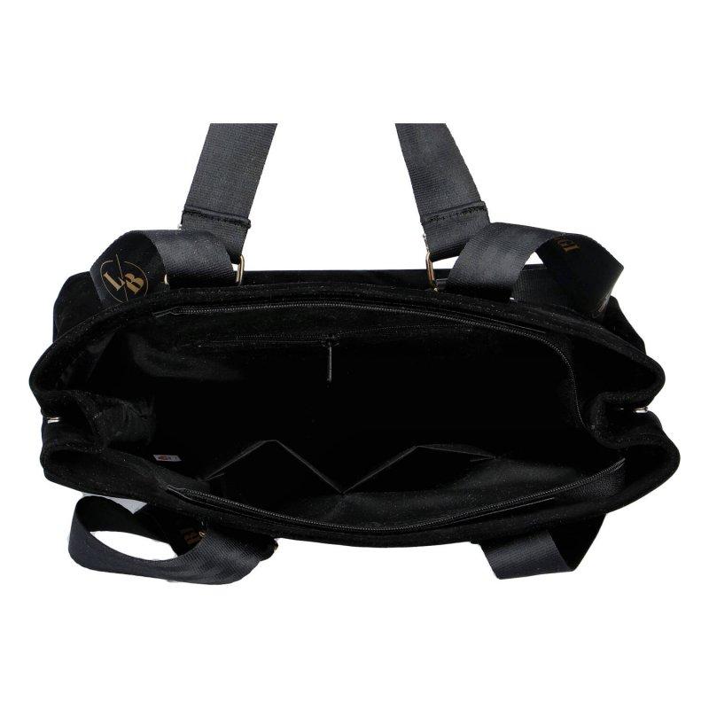 Velká semišová dámská luxusní taška Irene Laura Biaggi, černá