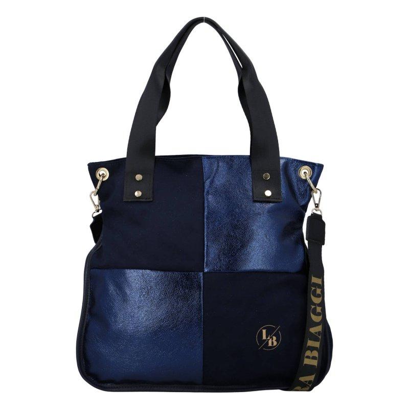 Stylová a praktická dámská koženková taška Blue Laura Biaggi, modrá