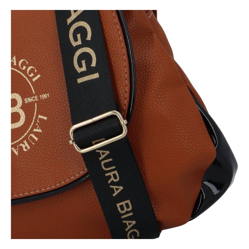 Stylová dámská koženková taška s klopou Alina Laura Biaggi, hnědá