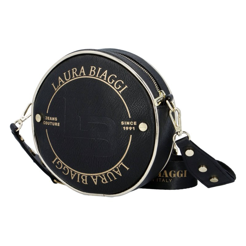 Dámská stylová kulatá výrazná crossbody Golden Star Laura Biaggi, černá