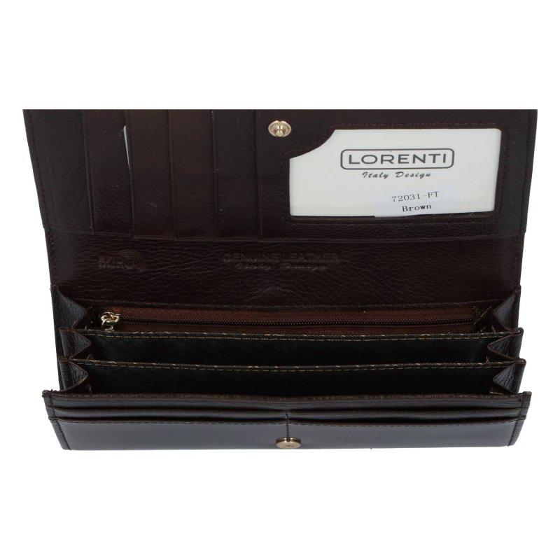 Velká luxusní dámská kožená peněženka s kovovým rámečkem Izi, hnědá