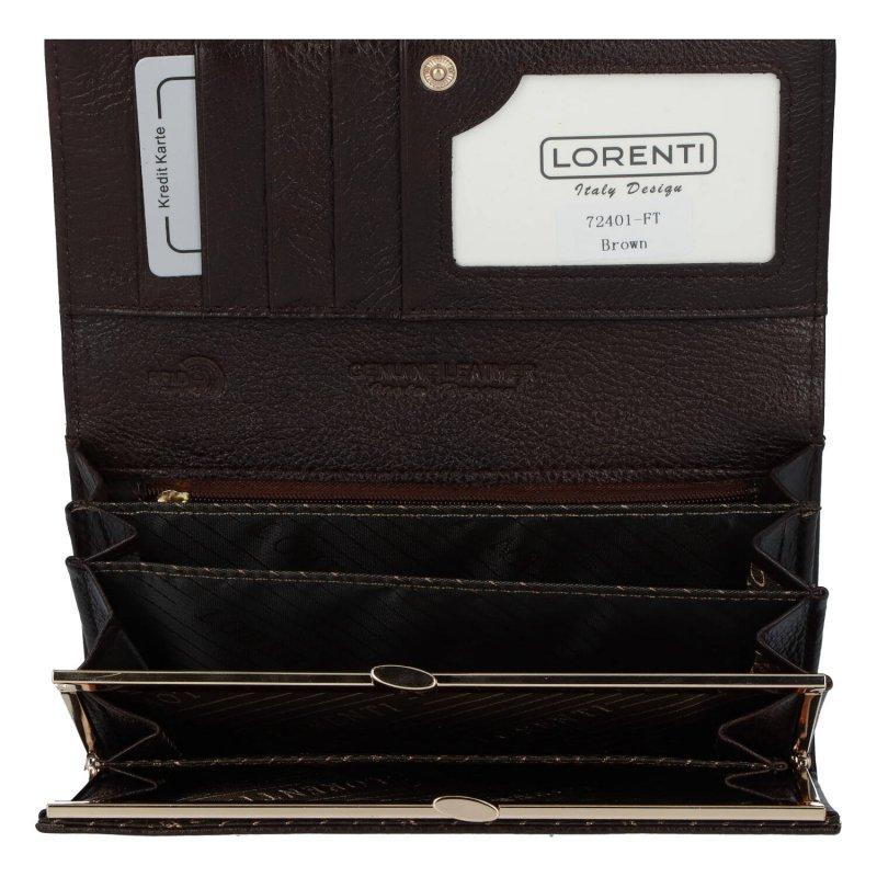 Velká a prostorná dámská luxusní kožená peněženka Albi, hnědá