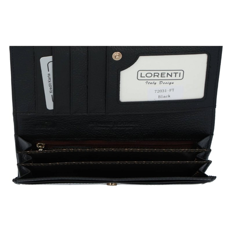 Velká luxusní dámská kožená peněženka s kovovým rámečkem Izi, černá