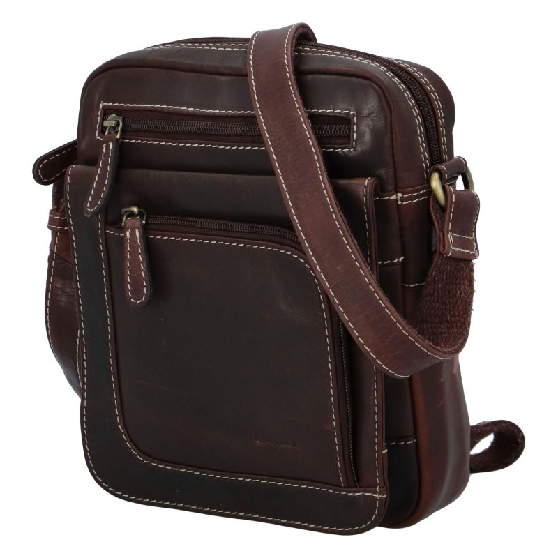 Elegantní pánská kožená taška Diviley Nevada line, tmavě hnědá