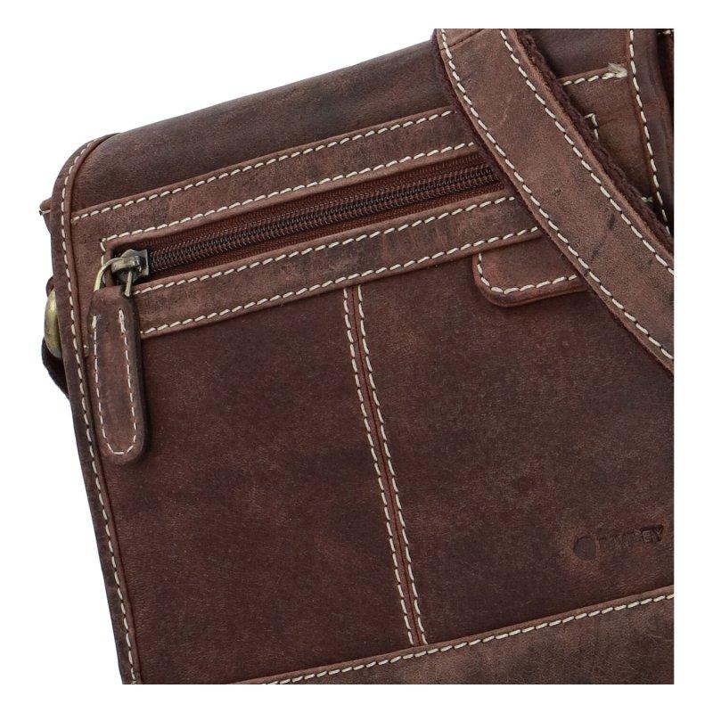 Pánská kožená crossbody taška Diviley City brown, hnědá