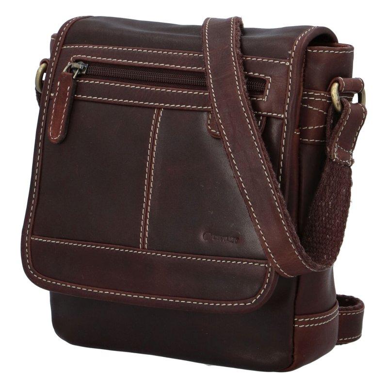 Pánská kožená crossbody taška Diviley City brown, tmavší hnědá 2