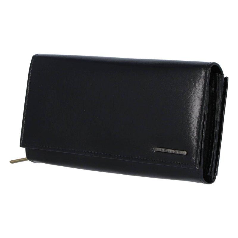 Velká a praktická dámská kožená peněženka Simone, černá