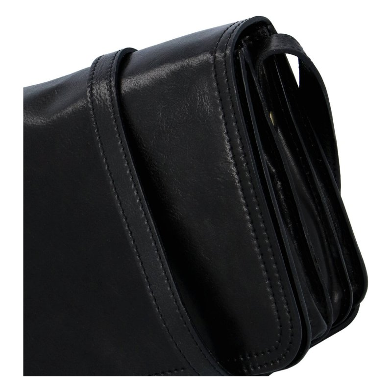 Dámská praktická pevná kožená crossbody Mimi, černá