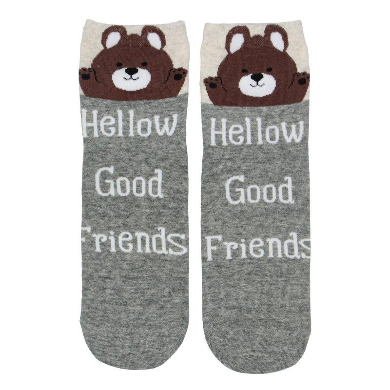 Dámské ponožky Hellow good friends Medvídek 38-41, šedé