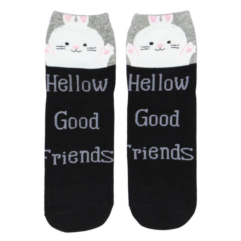 Dámské ponožky Hellow good friends Králíček 38-41, černé