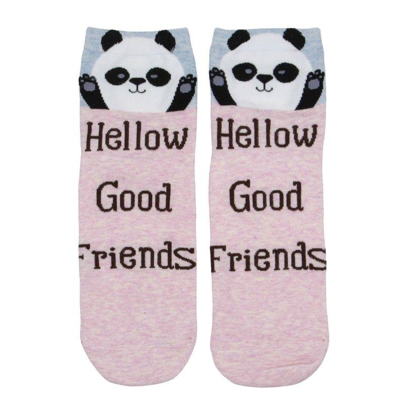 Dámské ponožky Hellow good friends Panda 38-41, růžové
