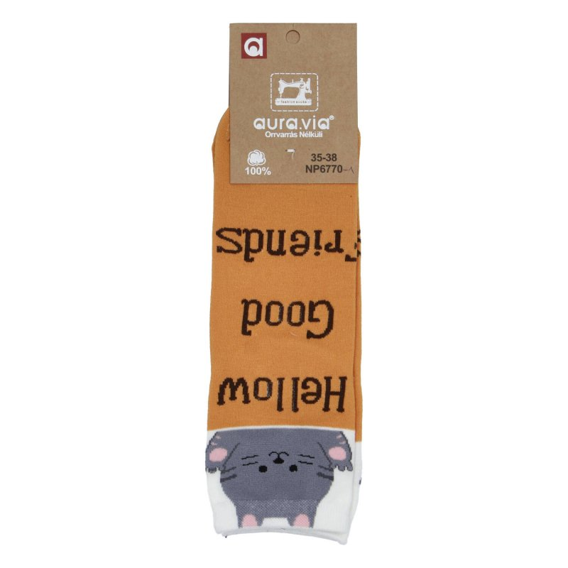 Dámské ponožky Hellow good friends Kočka 35-38, oranžové