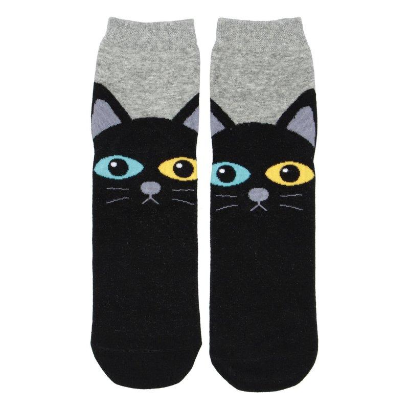 Dámské ponožky Black cat with different eyes 35-38, šedé