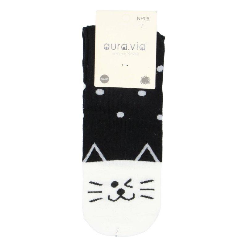 Dámské ponožky Cat dots 38-41, černo bílé