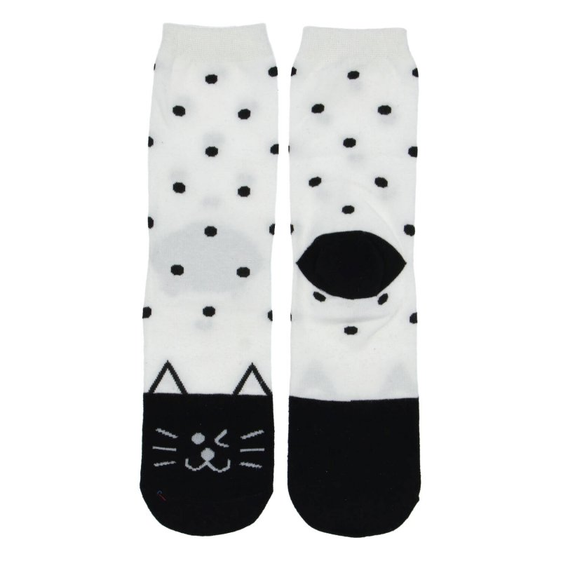 Dámské ponožky Cat dots 38-41, bílo černé