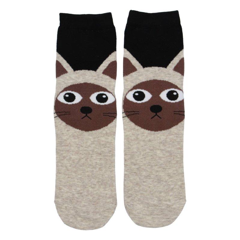 Dámské ponožky Sijamská kočka 35-38, béžové