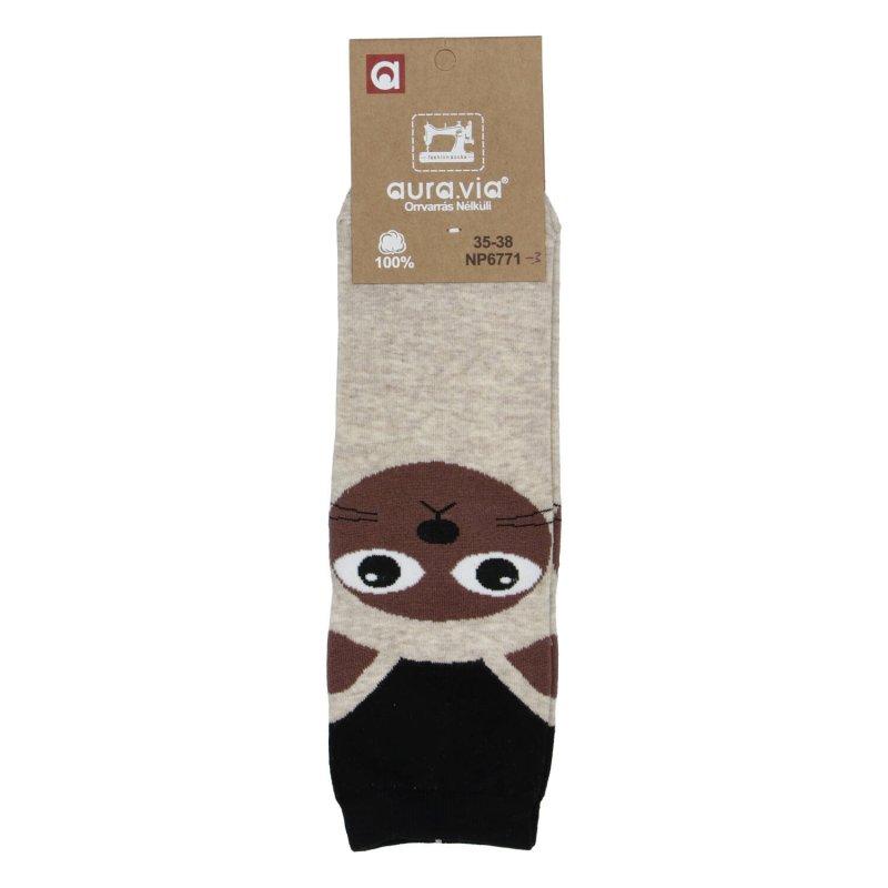 Dámské ponožky Sijamská kočka 38-41, béžové