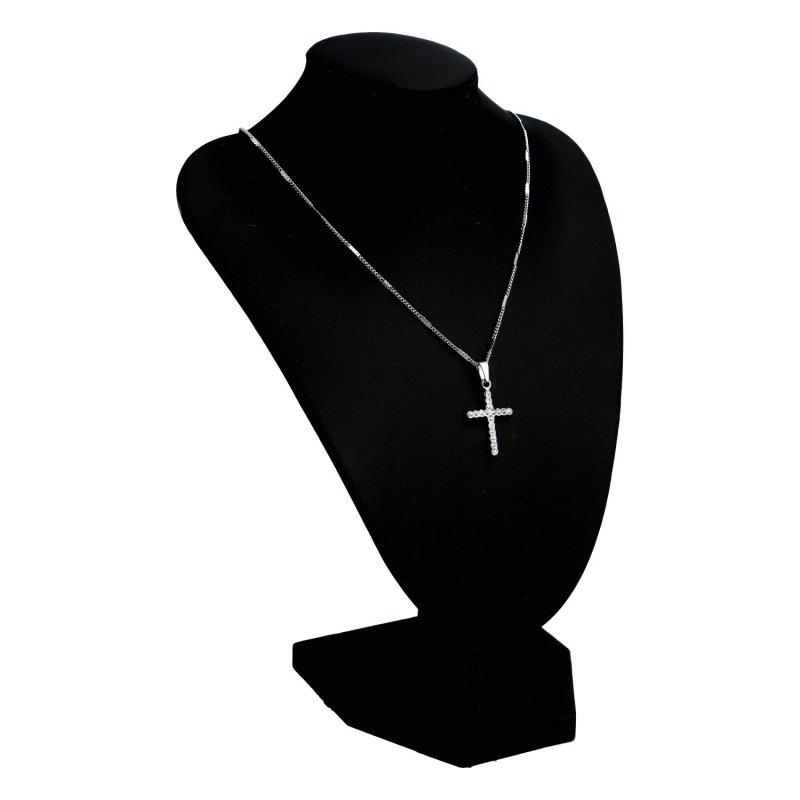 Dámský náhrdelník z chirurgické oceli Kříž, stříbrný