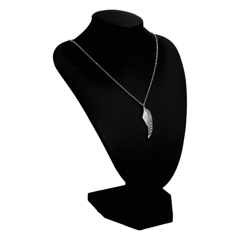 Dámský náhrdelník z chirurgické oceli Angel wing, stříbrný