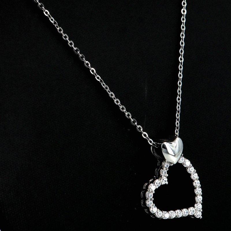Dámský náhrdelník z chirurgické oceli Big heart, stříbrný
