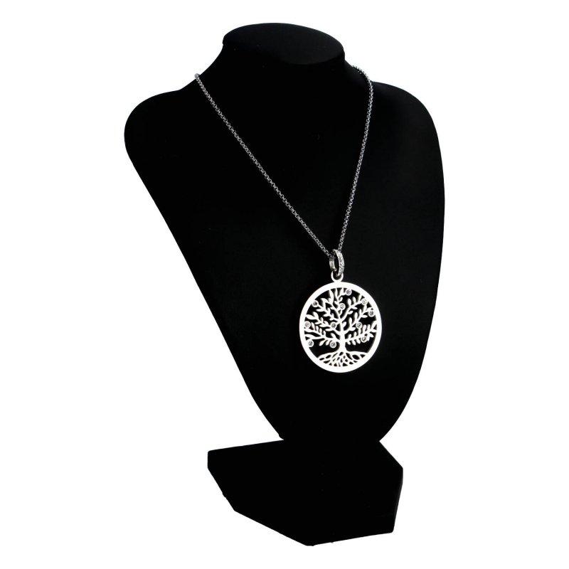 Dámský náhrdelník z chirurgické oceli Strom života s kamínky, stříbrný