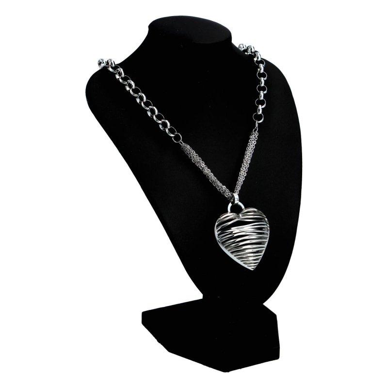 Dámský náhrdelník z chirurgické oceli Srdce s proužky, stříbrný