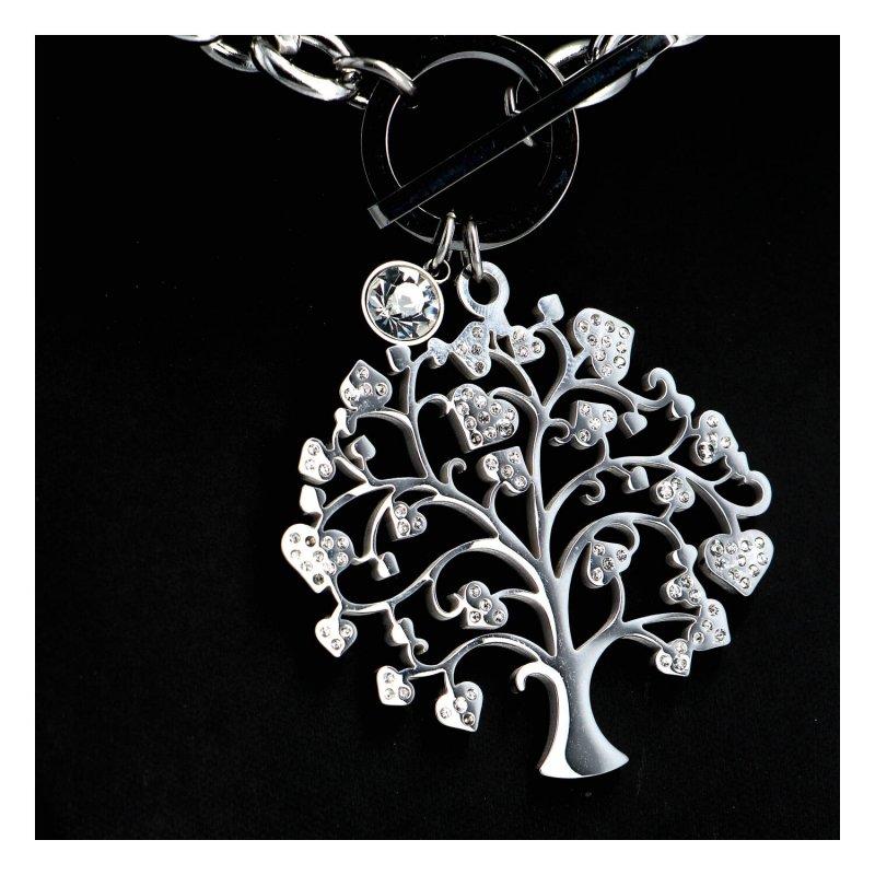 Dámský náhrdelník z chirurgické oceli Strom života se srdíčky, stříbrný