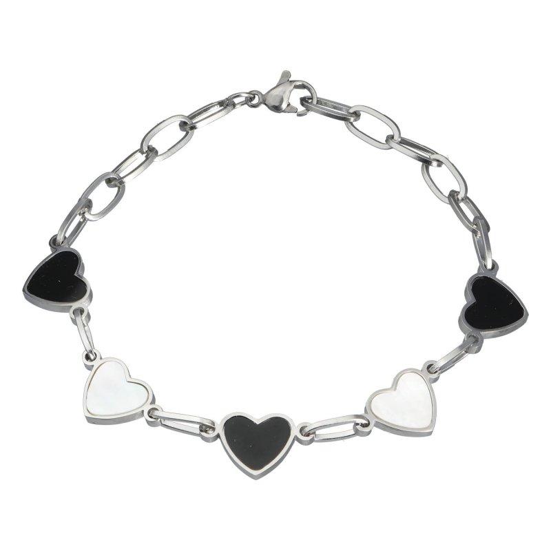 Dámský náramek z chirurgické oceli Hearts, stříbrný