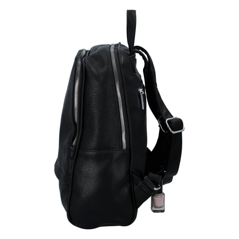 Praktický koženkový batoh Elisa, černá