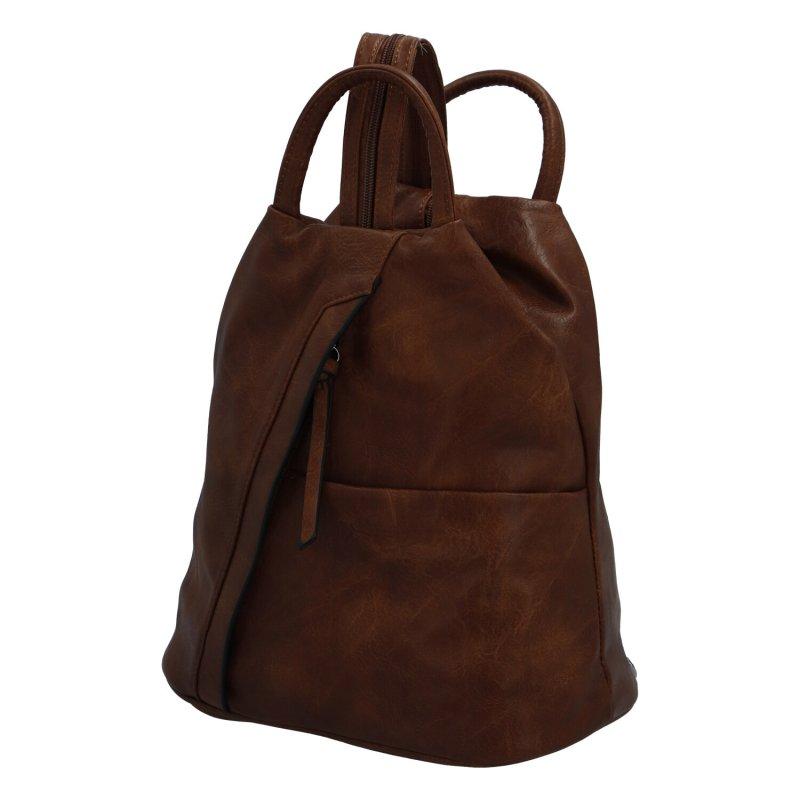 Koženkový praktický batůžek Michaela, hnědý