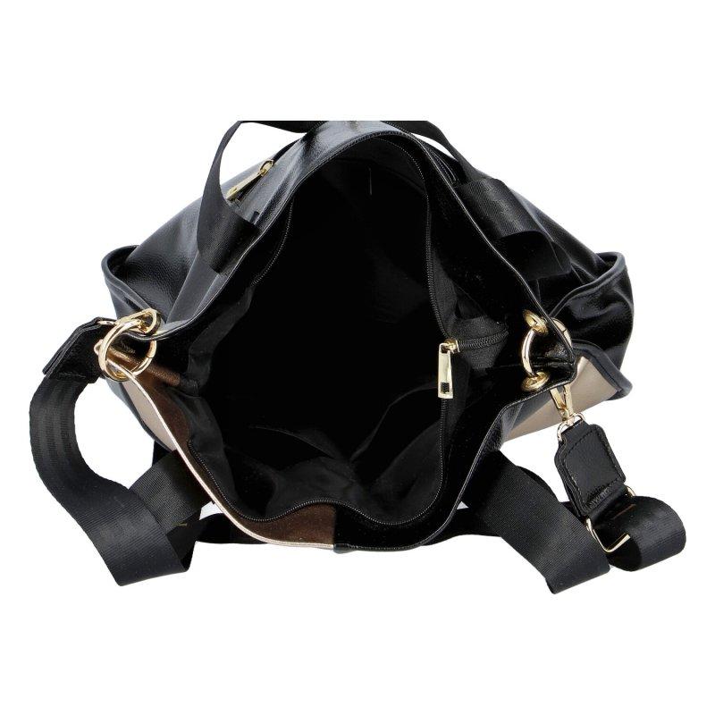 Dámská koženková kabelka LB futuristico, černo zlatá