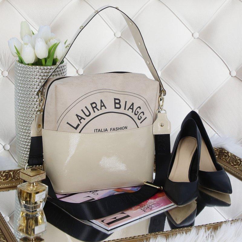 Dámská koženková kabelka LB Italia fashion, béžová