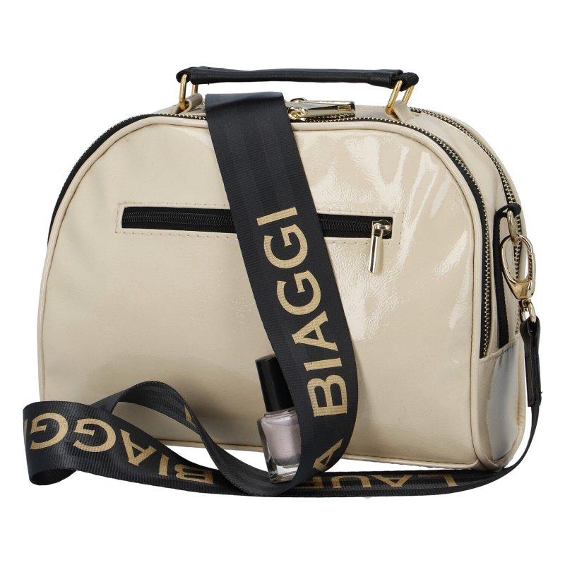 Dámská koženková kabelka LB Shiny crossbody, béžová