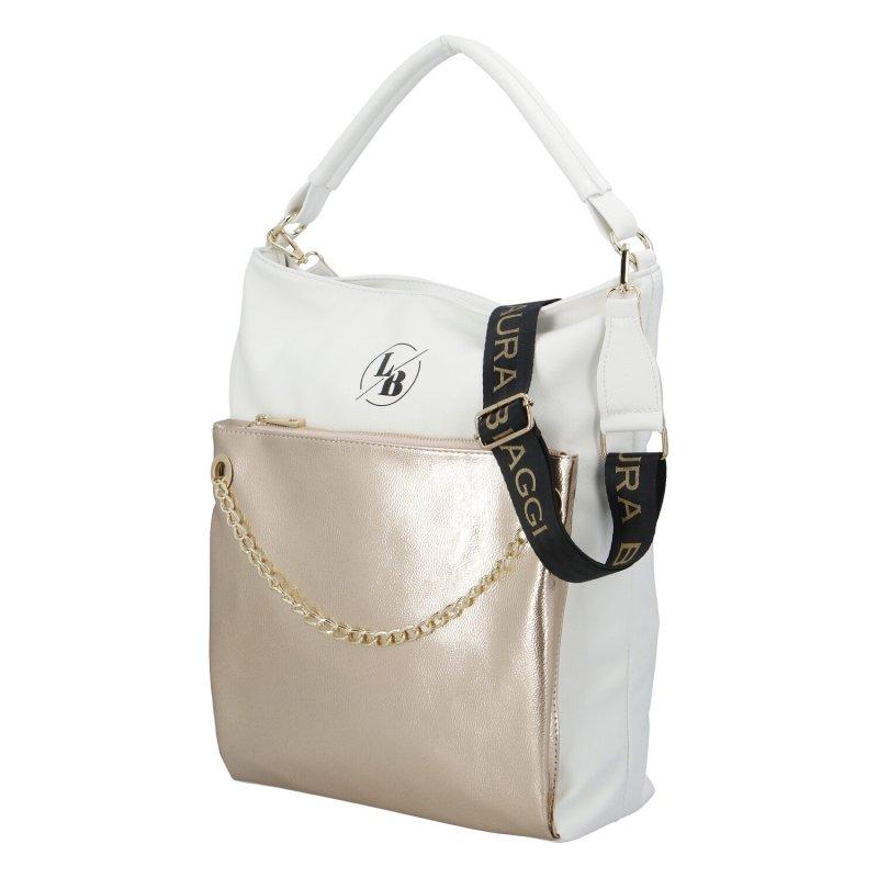 Dámská koženková kabelka LB Elegant lady, bílo zlatá