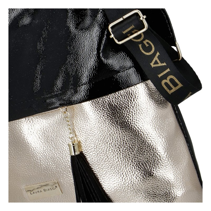 Dámská koženková kabelka LB City gold, černo zlatá