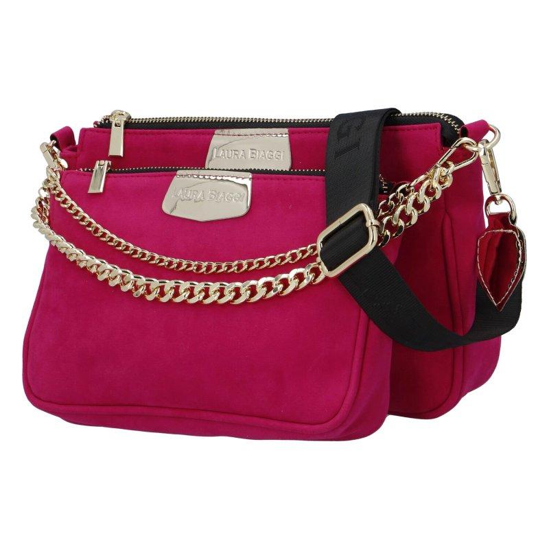 Dámská semišová kabelka LB Pink Fashion lady, fuchsiová