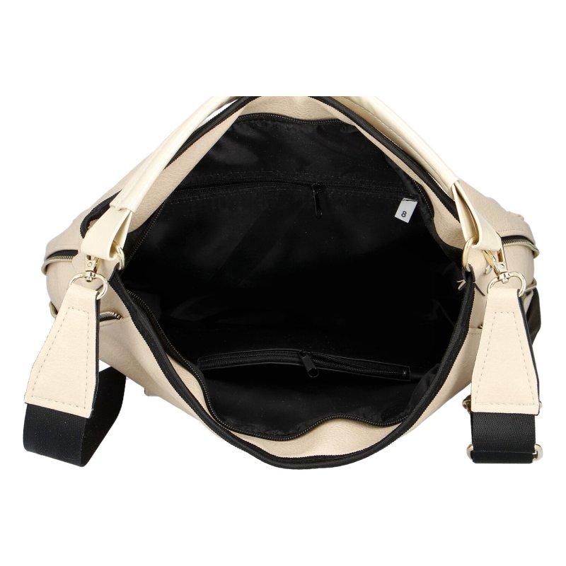 Dámská koženková kabelka LB Elegant Sport, béžová