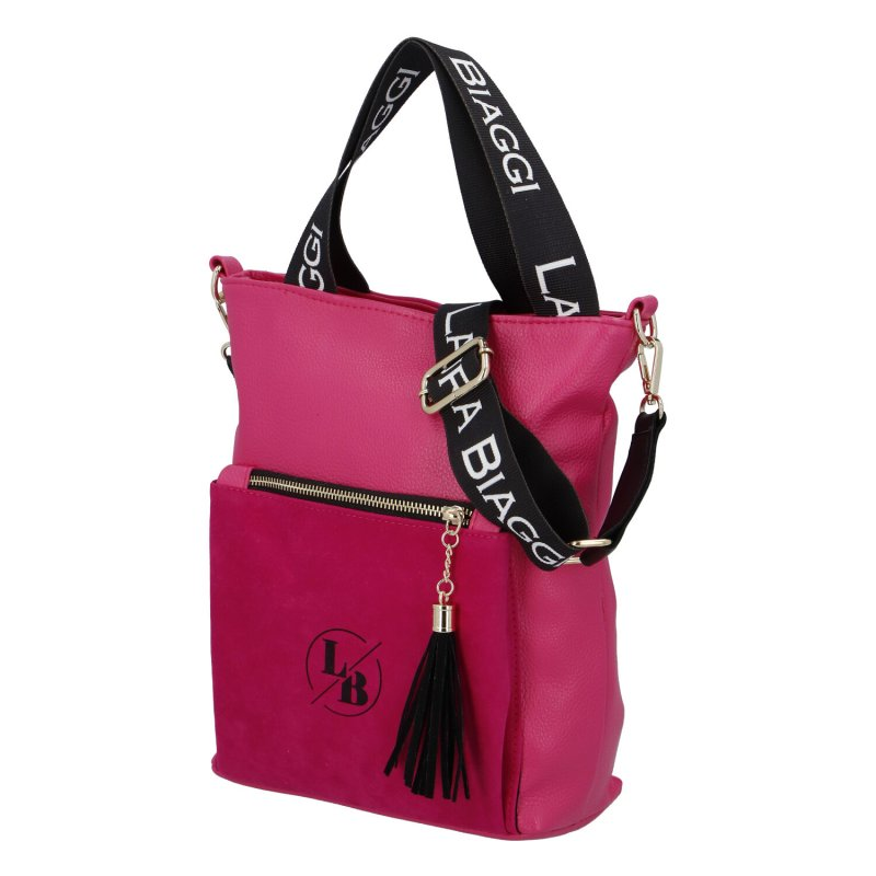 Dámská koženková kabelka LB Fuchsia lady style, fuchsiová