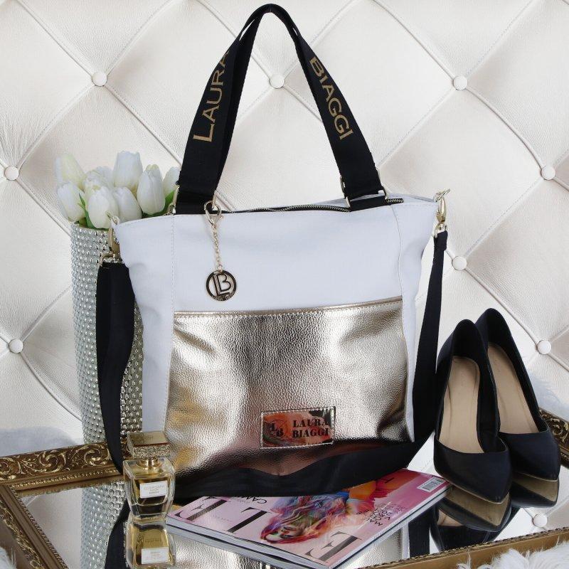 Dámská koženková kabelka Laura.B elegance in gold, bílo zlatá