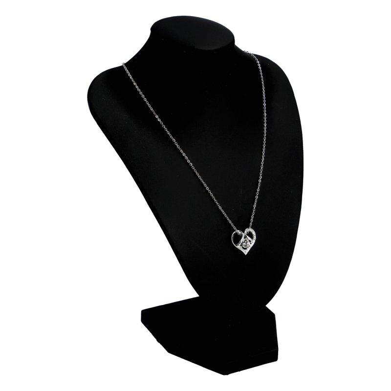 Dámský náhrdelník Srdíčko s kamínkem, stříbrný