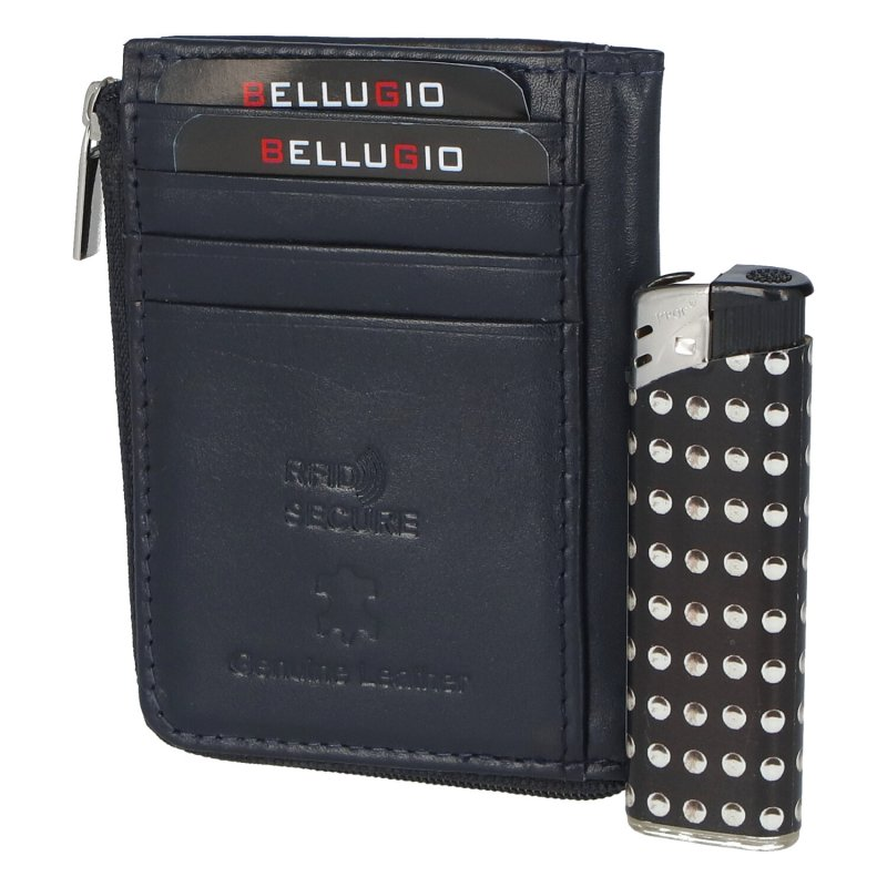 Kožená peněženka dokladovka Vincent, modrá