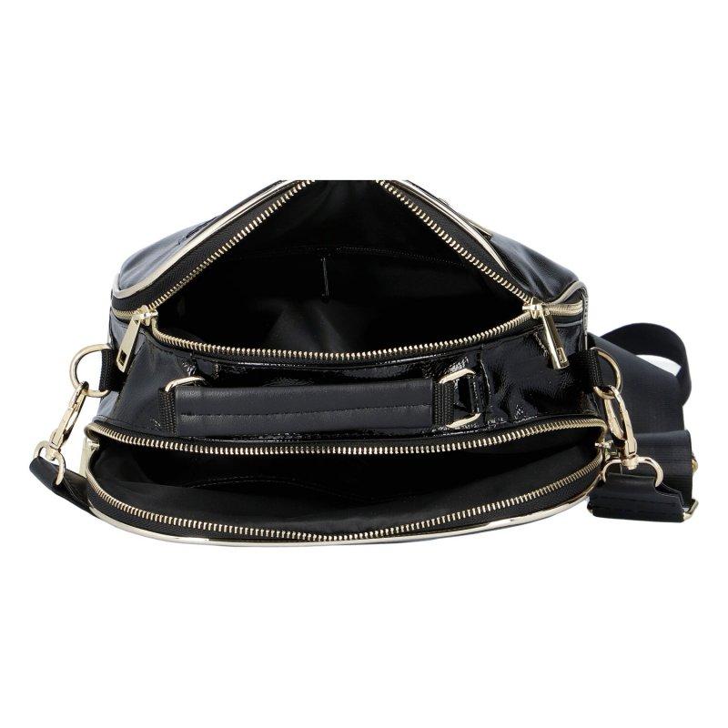 Lakovaná koženková kabelka LB Luxury sport, černá