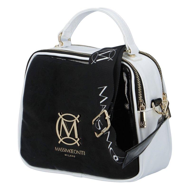 Trendová koženková kabelka CONTI M., černo bílá