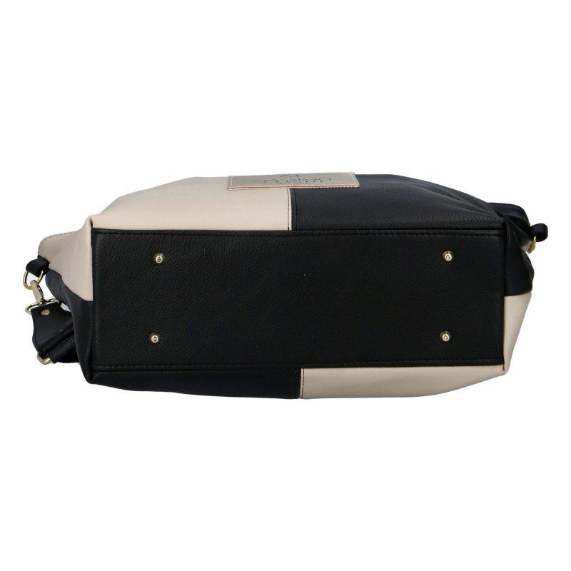 Luxusní dámská koženková kabelka MCO queen, béžovo černá