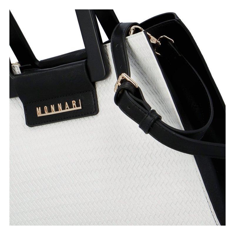 Luxusní dámská kožená kabelka Ema in black and white, černo bílá