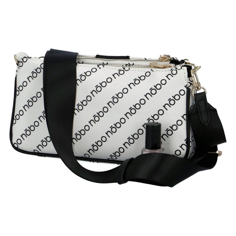 Stylová dámská koženková kabelka NOBO modern design, bílo černá