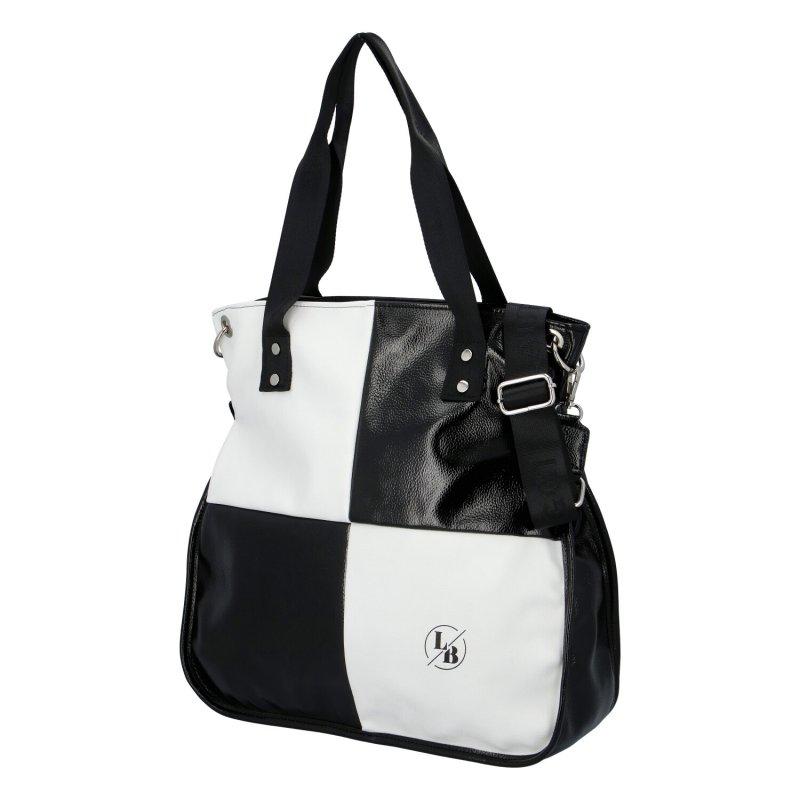 Kombinovaná koženková kabelka Laura Biaggi Dory, černo-bílá