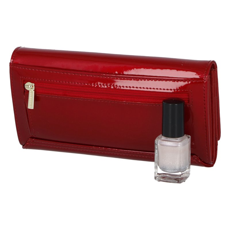 Delší hladká lakovaná peněženka Aimee, červená